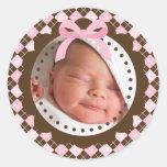 Nyfödd bebisklistermärke rund klistermärke