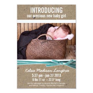 Nyfödd bebismeddelande med det stora fotoet 8,9 x 12,7 cm inbjudningskort