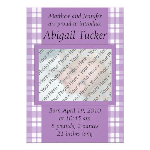 Nyfödd bebismeddelandekort inbjudningar