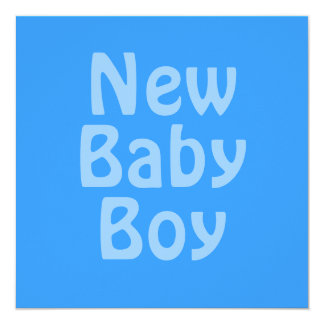 Nyfödd bebispojke. Blått Fyrkantigt 13,3 Cm Inbjudningskort