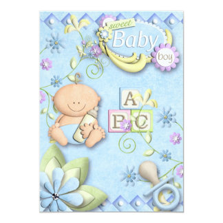 Nyfödd bebispojkeinbjudan, meddelande eller 12,7 x 17,8 cm inbjudningskort