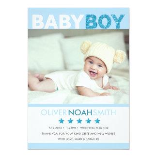 Nyfödd bebispojkemeddelandet/tackar dig att card 12,7 x 17,8 cm inbjudningskort