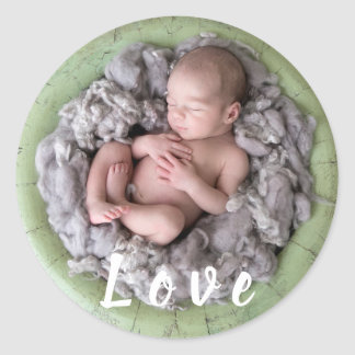 Nyfödd bild för foto för baby för runt klistermärke