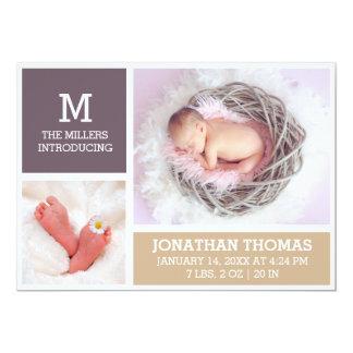 Nyfött kort för foto för babyfödelsemeddelande 12,7 x 17,8 cm inbjudningskort