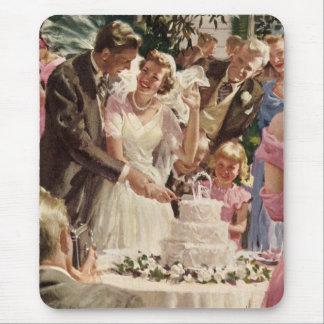 Nygift person för vintage bröllopbrudbrudgum musmattor