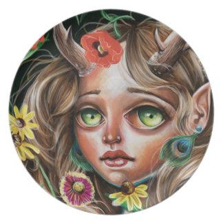 Nymph för skog för Surrealism för vildblommapop Fest Tallrikar