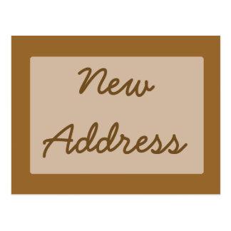 Nytt adress enkelt ljust - brunt vykort