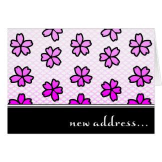 nytt adress meddelande: retro blommor OBS kort