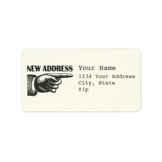 Nytt adress peka räcker adressetikett