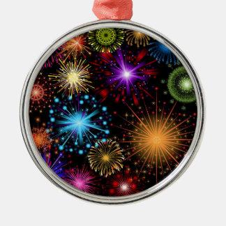 Nytt år för färgglada fyrverkerier julgransprydnad metall