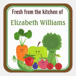 Nytt från de små kökfrukterna och veggiesna fyrkantigt klistermärke