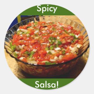 Nytt gjord salsa runt klistermärke