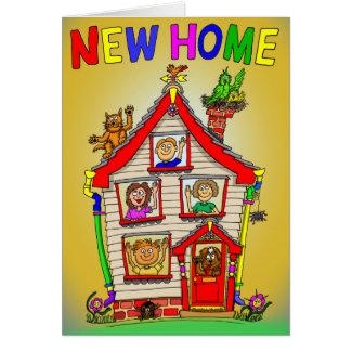 Nytt hem- tecknadhus hälsningskort
