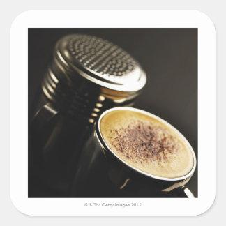 nytt kaffe fyrkantigt klistermärke
