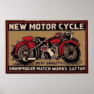 Nytt motoriskt cyklar den säkra matchetiketten poster