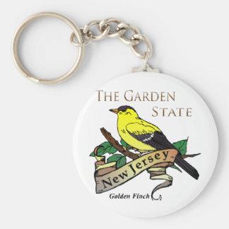 Nytt - statlig guld- Finch för jerseyträdgård Rund Nyckelring