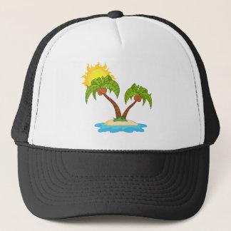 Ö med palmträd två keps