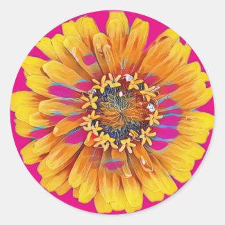 Oavkortad blom för sommarblomma runt klistermärke