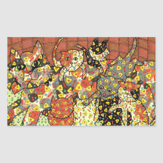 Oaxacan katt och kattungar rektangulärt klistermärke