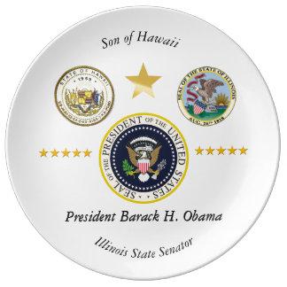 Obama Hawaii Illinois samlarear pläterar Porslinstallrik