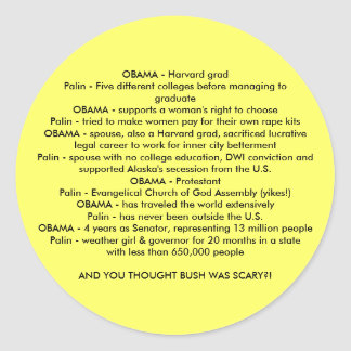 OBAMA V. Palin Runt Klistermärke