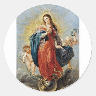Obefläckad befruktning - Peter Paul Rubens Runt Klistermärke