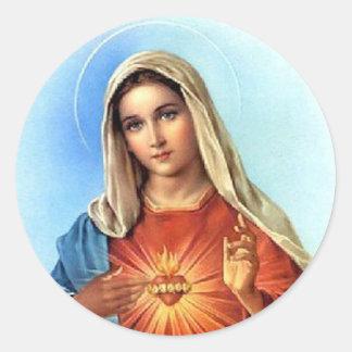 Obefläckad hjärta Mary Runt Klistermärke