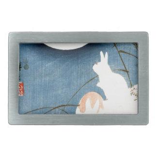 Obetitlat (två kaniner, Pampas gräs och fullmåne
