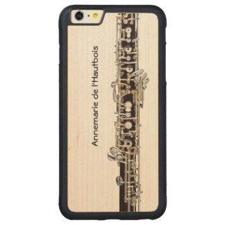 Oboe nycklar, anpassadenamn carved lönn iPhone 6 plus bumper skal