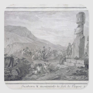 Öbor & monument av påskön, 1786 fyrkantigt klistermärke