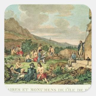 Öbor och monument av påskön fyrkantigt klistermärke