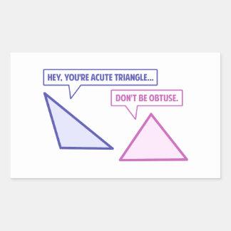 Obtuse vinkel för akut triangel rektangulärt klistermärke