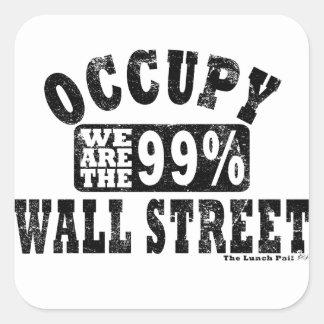 Occupy wall street 99% fyrkantigt klistermärke