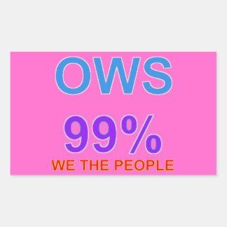 Occupy wall street 99% oss folket rektangulärt klistermärke