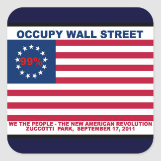 Occupy wall street 99% Zuccotti parkerar Fyrkantigt Klistermärke