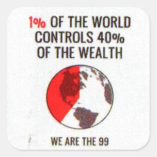 Occupy wall street - den 1% världen kontrollerar fyrkantigt klistermärke