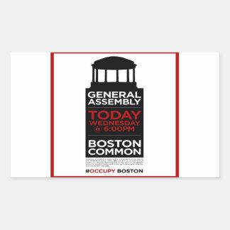 Occupy wall street generalförsamling BOSTON Rektangulärt Klistermärke