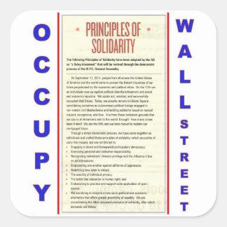 Occupy wall street principer av solidaritet fyrkantigt klistermärke