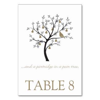 Och en rapphöna i ett pearträd bordsnummer