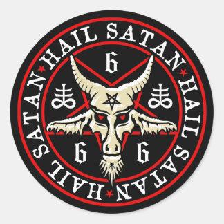Ockult hagelSatan Baphomet get i Pentagram Runt Klistermärke
