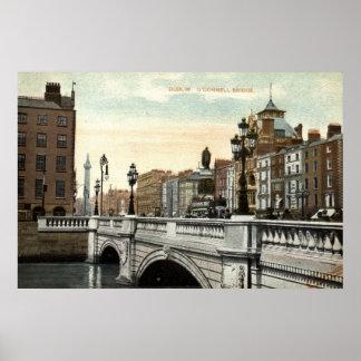 O'Connell överbryggar, Dublin, Irland vintage 1915 Poster