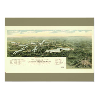 Oconomowoc & Waukesha Wisconsin (1890) 12,7 X 17,8 Cm Inbjudningskort