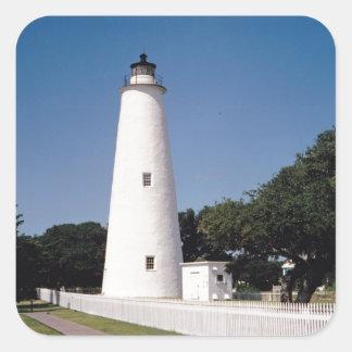 Ocracoke fyr fyrkantigt klistermärke