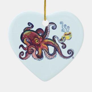 OctoCoffee Hjärtformad Julgransprydnad I Keramik