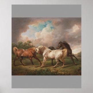 Öde för hästar för olja för Charles Towne konstmål Affischer