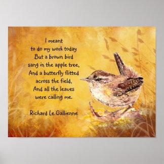 Ode som fjädrar dikt med Bown fågelgärdsmyg Poster