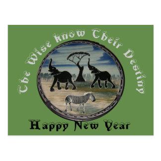 Öden av det klokt för det nya året vykort
