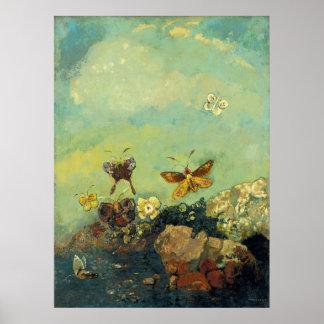 Odilon Redon - fjärilar Poster