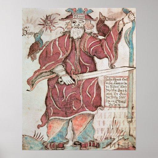 Odin med hans två kråkor, Hugin och Munin Posters