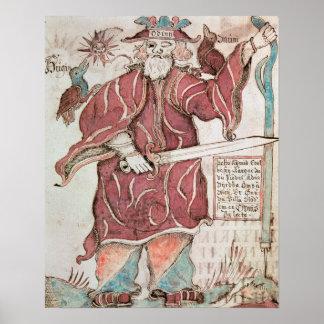 Odin med hans två kråkor, Hugin och Munin Poster